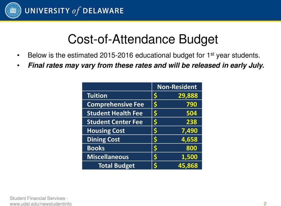 Non-Resident Tuition $ 29,888 Comprehensive Fee $ 790 Student Health Fee $ 504 Student Center Fee $
