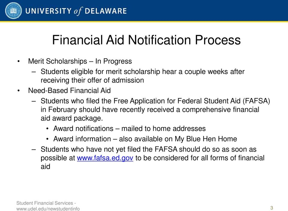 comprehensive financial aid award package.