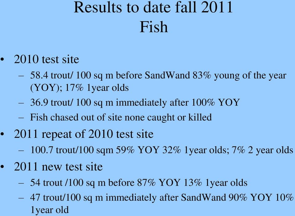 9 trout/ 100 sq m immediately after 100% YOY Fish chased out of site none caught or killed 2011 repeat of 2010