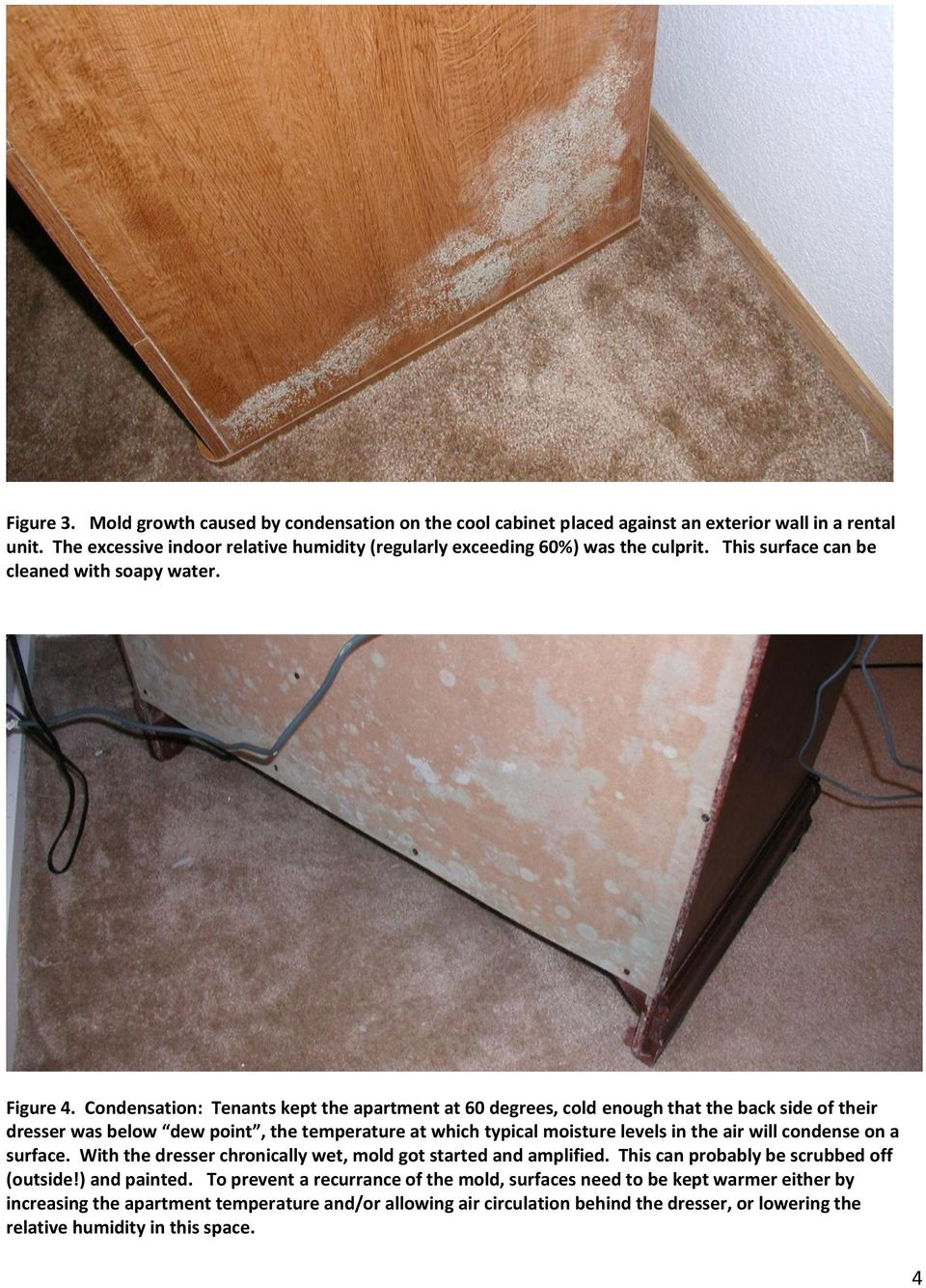 Condensation: Tenants kept the apartment at 60 degrees, cold enough that the back side of their dresser was below dew point, the temperature at which typical moisture levels in the air will condense