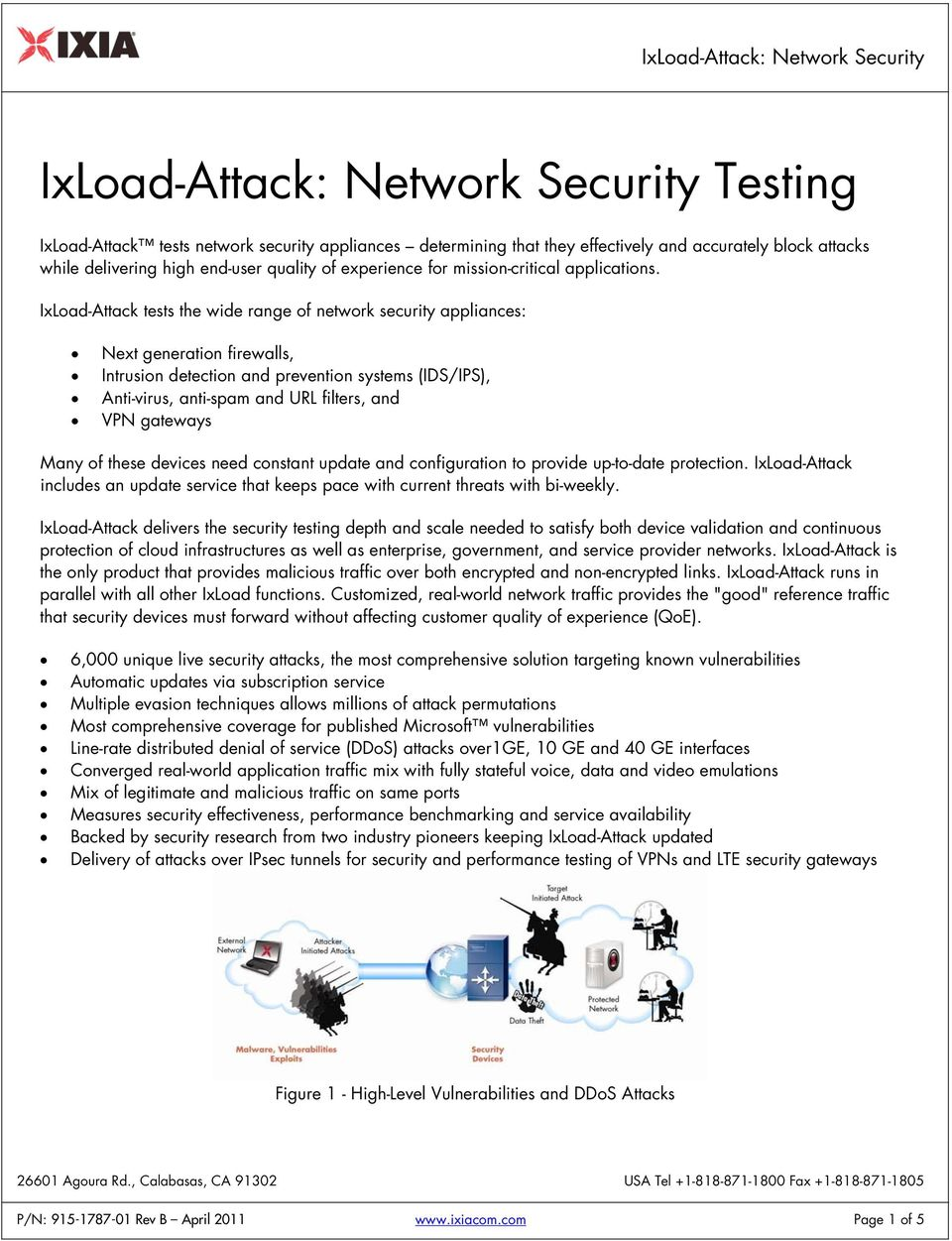 IxLoad-Attack tests the wide range of network security appliances: Next generation firewalls, Intrusion detection and prevention systems (IDS/IPS), Anti-virus, anti-spam and URL filters, and VPN