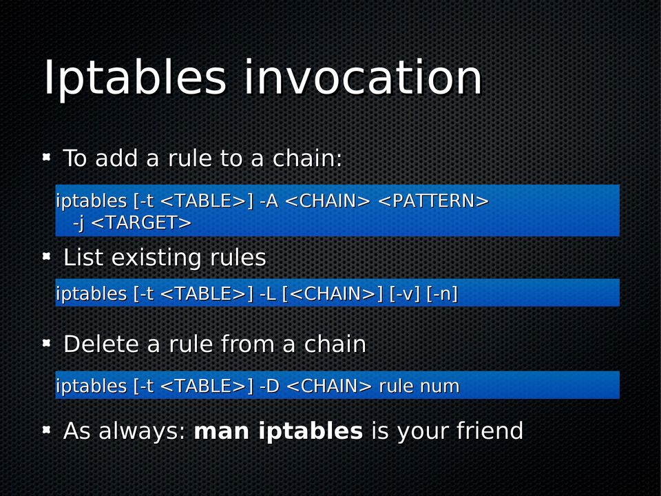 <TABLE>] -L [<CHAIN>] [-v] [-n] Delete a rule from a chain iptables