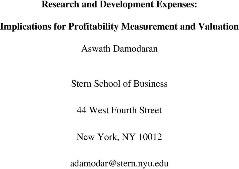 Aswath Damodaran Stern School of Business 44 West