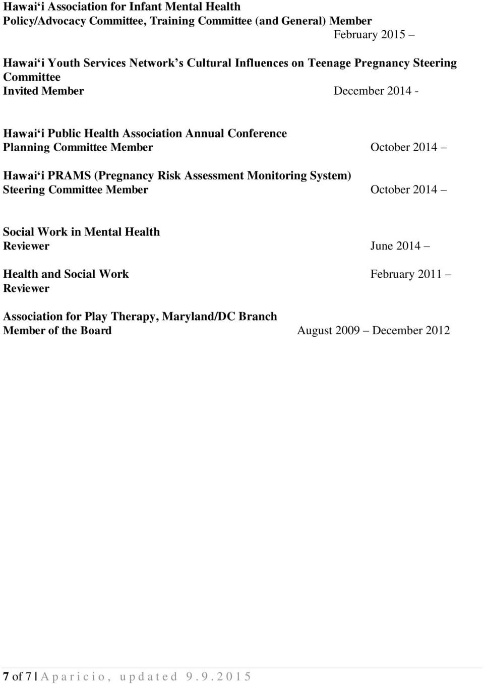 2014 Hawai i PRAMS (Pregnancy Risk Assessment Monitoring System) Steering Committee Member October 2014 Social Work in Mental Health Reviewer June 2014 Health and Social