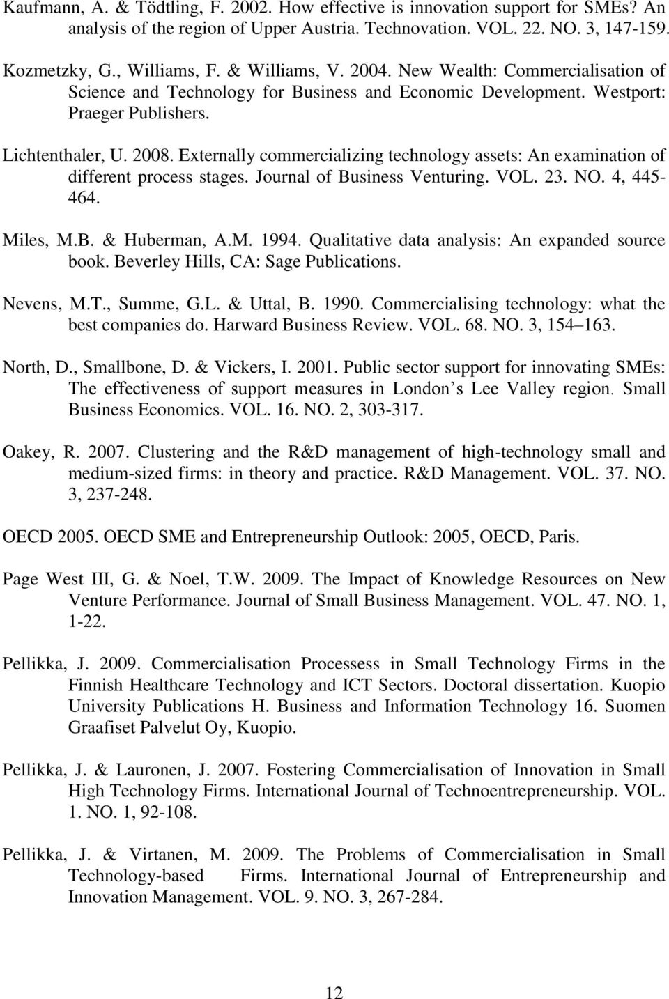 Externally commercializing technology assets: An examination of different process stages. Journal of Business Venturing. VOL. 23. NO. 4, 445-464. Miles, M.B. & Huberman, A.M. 1994.