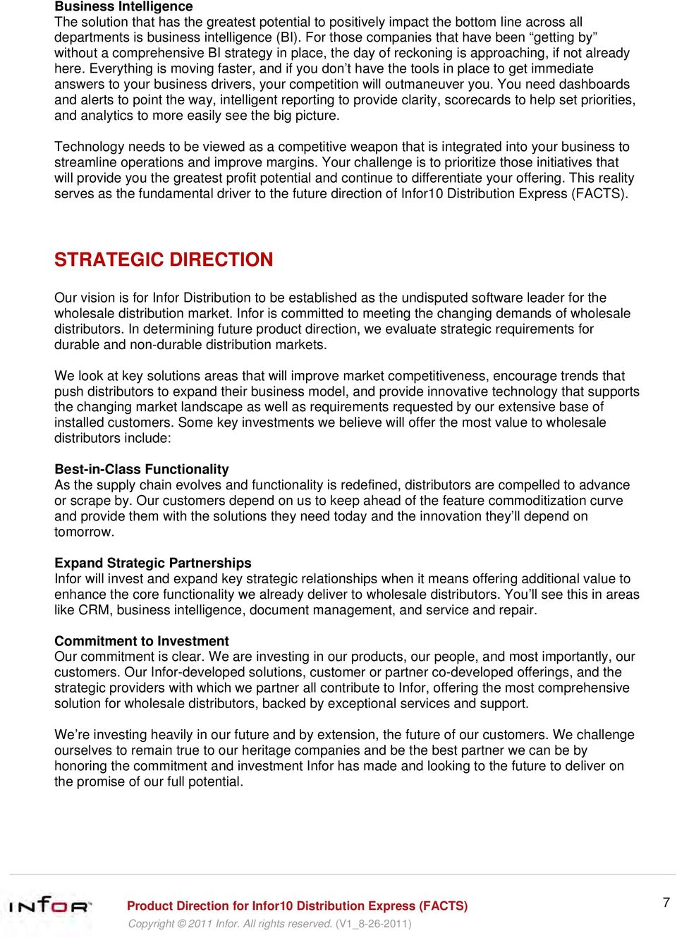 Strategic Product Direction Infor10 Distribution Express (FACTS) - PDF