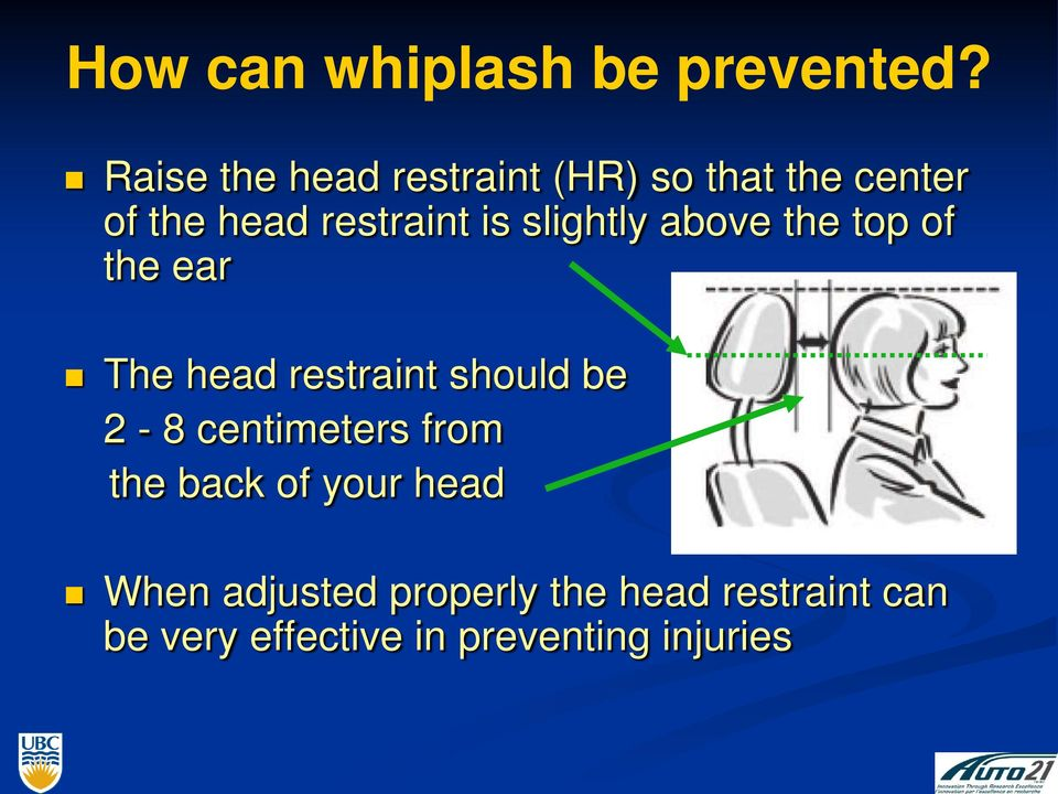 slightly above the top of the ear The head restraint should be 2-8