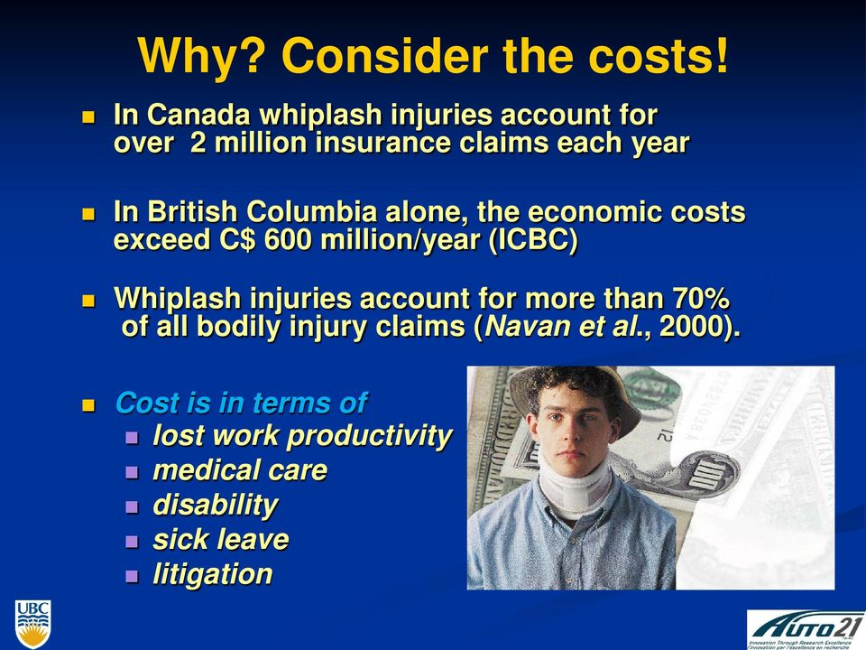 Columbia alone, the economic costs exceed C$ 600 million/year (ICBC) Whiplash injuries