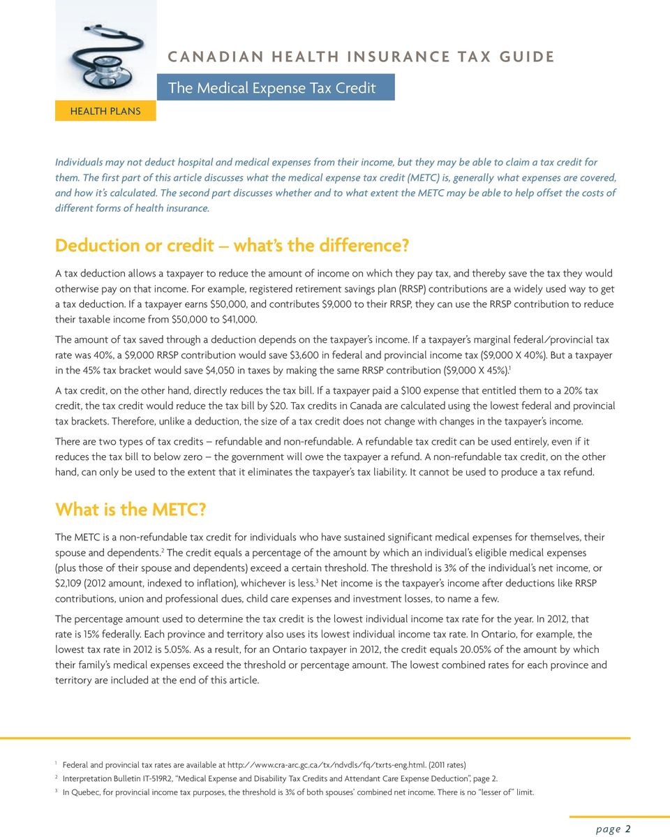 The second part discusses whether and to what extent the METC may be able to help offset the costs of different forms of health insurance. Deduction or credit what s the difference?
