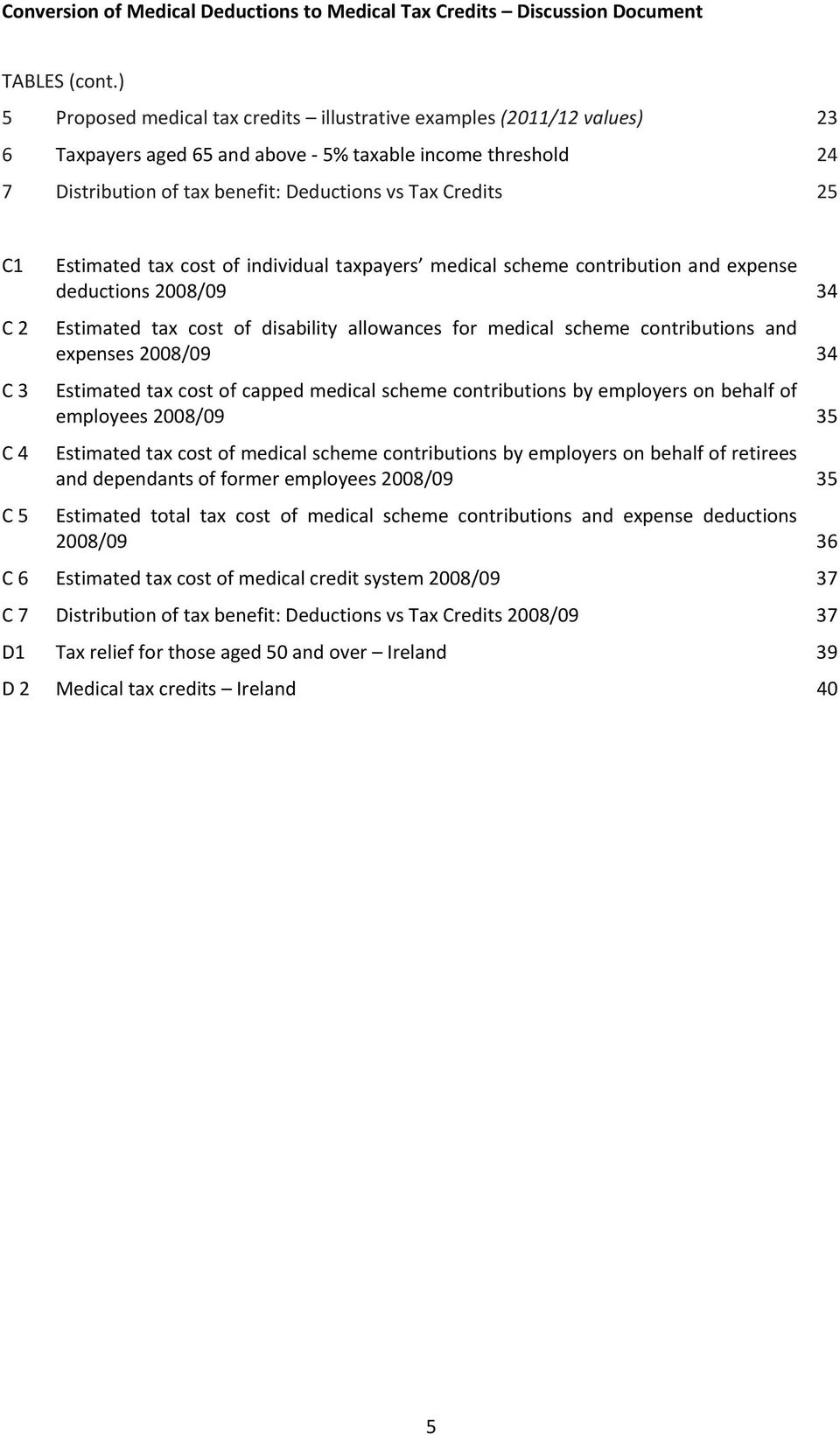 C1 C 2 C 3 C 4 C 5 Estimated tax cost of individual taxpayers medical scheme contribution and expense deductions 2008/09 34 Estimated tax cost of disability allowances for medical scheme
