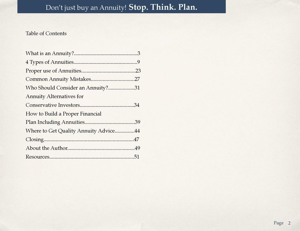 ...31 Annuity Alternatives for Conservative Investors.