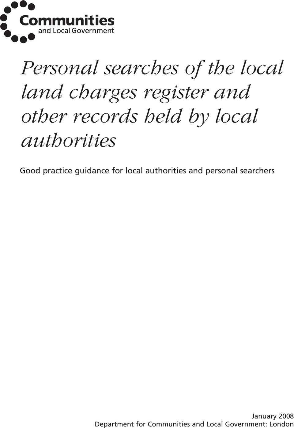 guidance for local authorities and personal searchers