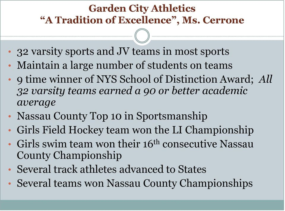 of Distinction Award; All 32 varsity teams earned a 90 or better academic average Nassau County Top 10 in Sportsmanship Girls