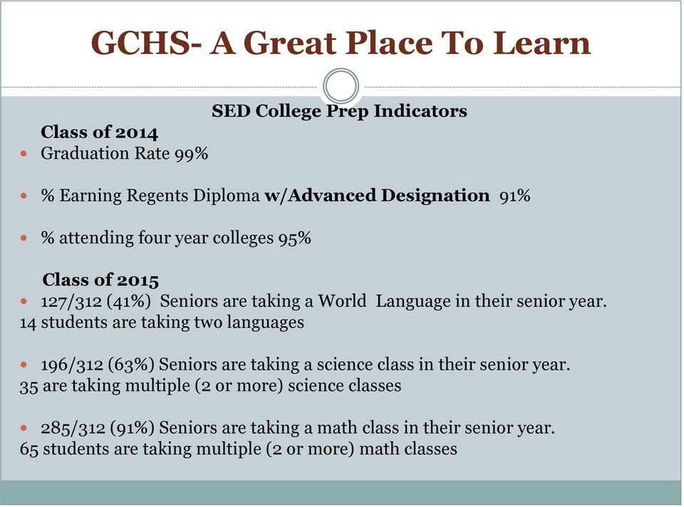 14 students are taking two languages 196/312 (63%) Seniors are taking a science class in their senior year.