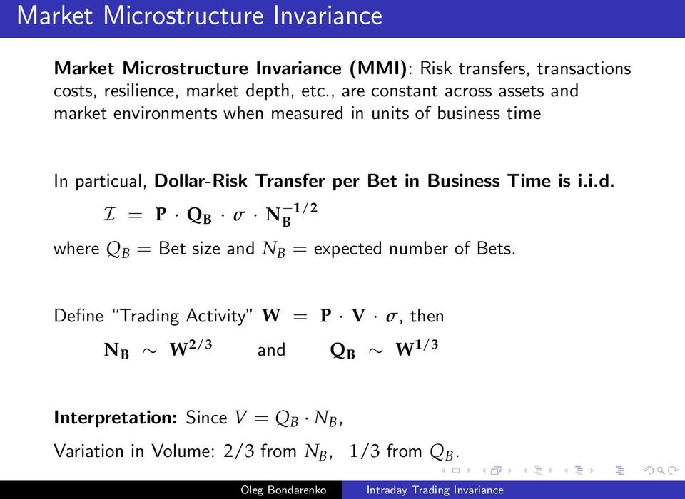 , are constant across assets and market environments when measured in units of business time In particual, Dollar-Risk Transfer per