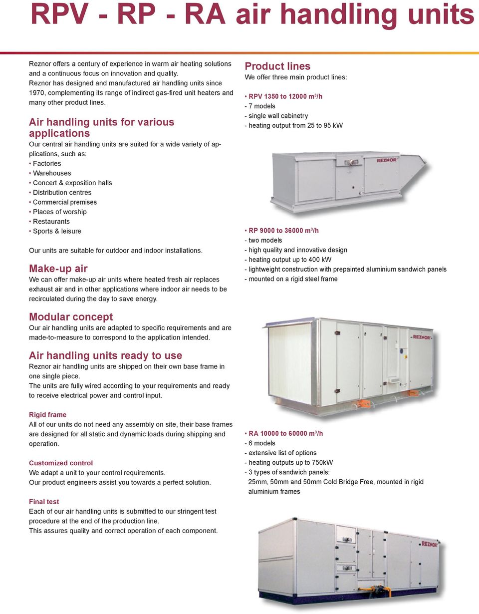 Air handling units for various applications Our central air handling units are suited for a wide variety of applications, such as: Factories Warehouses Concert & exposition halls Distribution centres