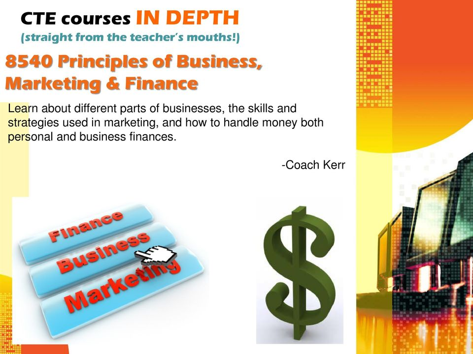 businesses, the skills and strategies used in marketing,