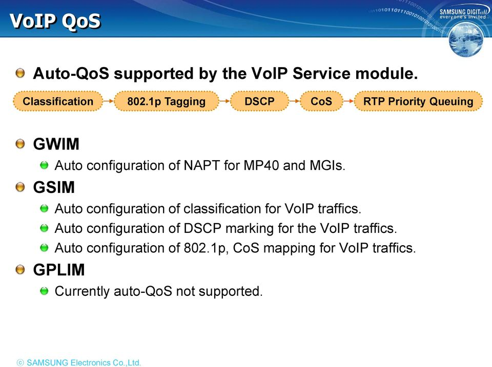 Auto configuration of classification for VoIP traffics.