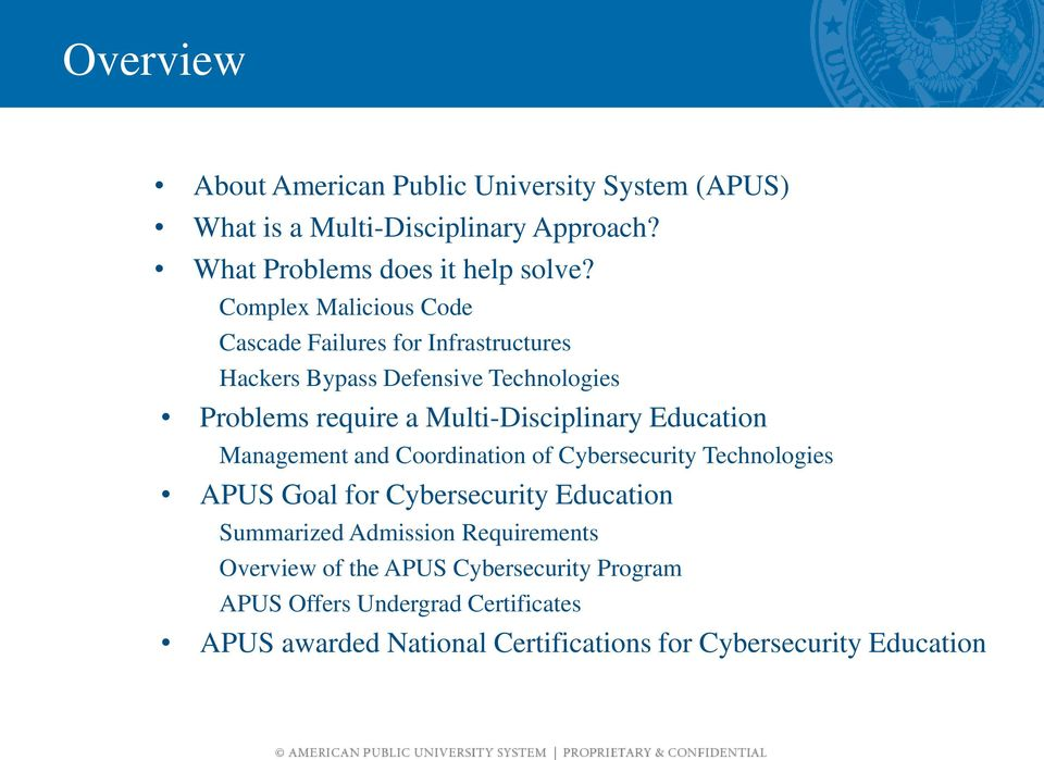 Education Management and Coordination of Cybersecurity Technologies APUS Goal for Cybersecurity Education Summarized Admission