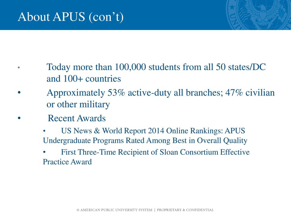 Recent Awards US News & World Report 2014 Online Rankings: APUS Undergraduate Programs