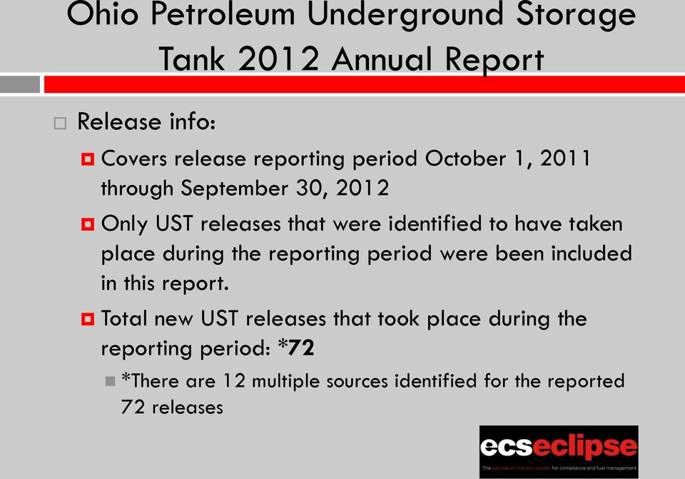 place during the reporting period were been included in this report.