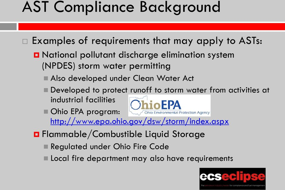 runoff to storm water from activities at industrial facilities Ohio EPA program: http://www.epa.ohio.