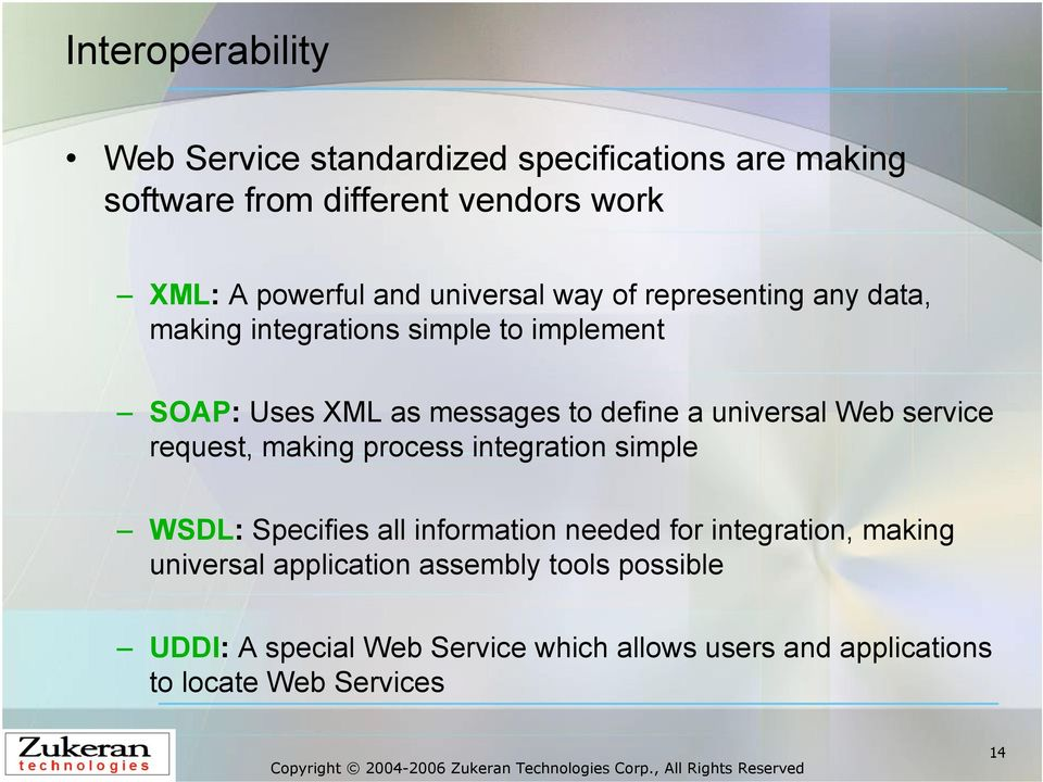 universal Web service request, making process integration simple WSDL: Specifies all information needed for integration,