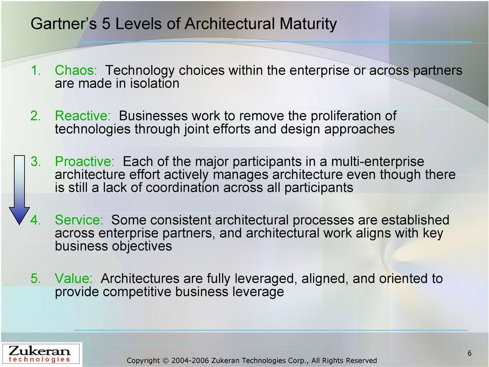 Proactive: Each of the major participants in a multi-enterprise architecture effort actively manages architecture even though there is still a lack of coordination across all