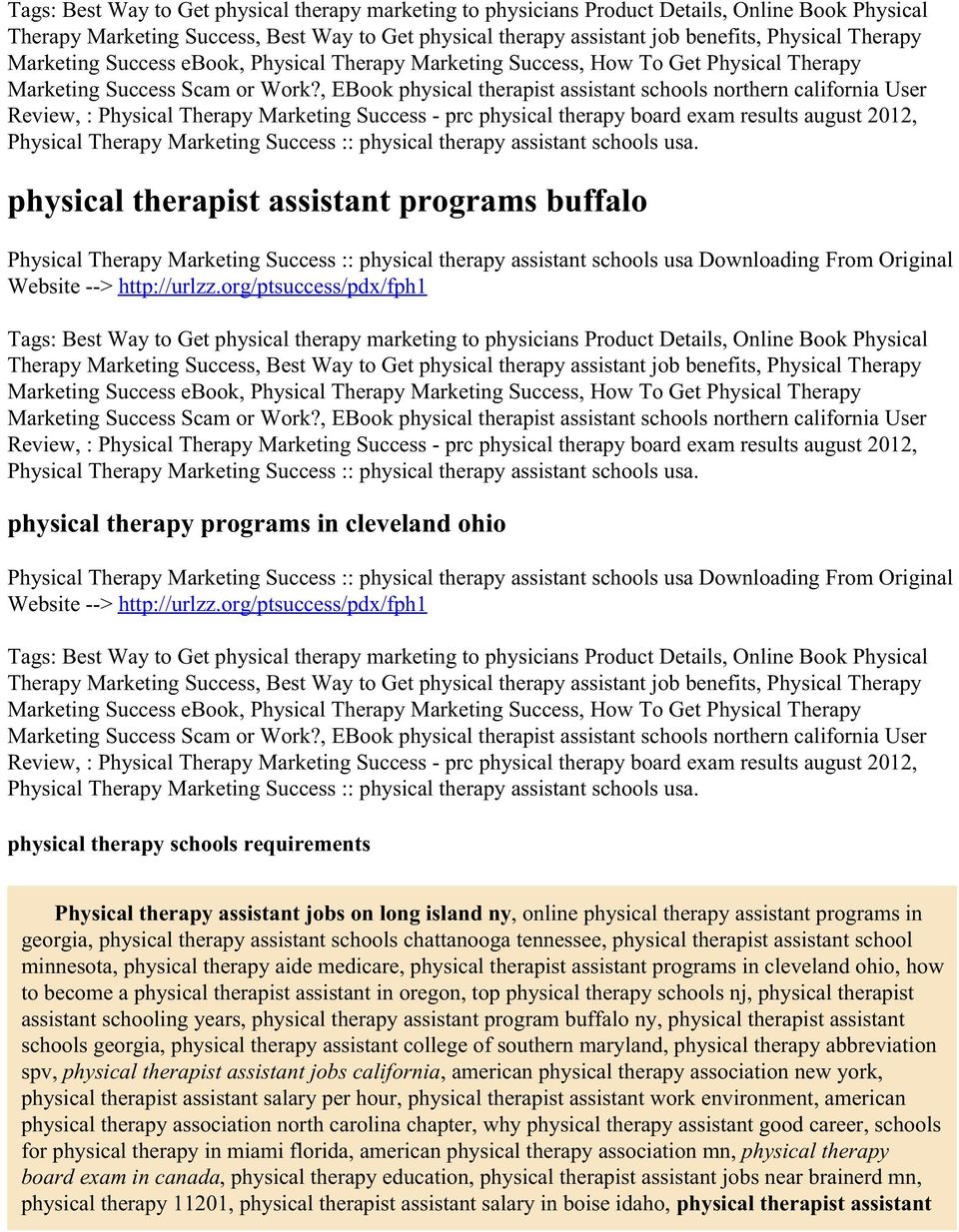 , EBook physical therapist assistant schools northern california User Review, : Physical Therapy Marketing Success - prc physical therapy board exam results august 2012, Physical Therapy Marketing