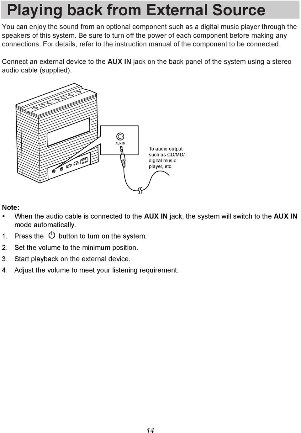 Connect an external device to the AUX IN jack on the back panel of the system using a stereo audio cable (supplied). AUX IN To audio output such as CD/MD/ digital music player, etc.
