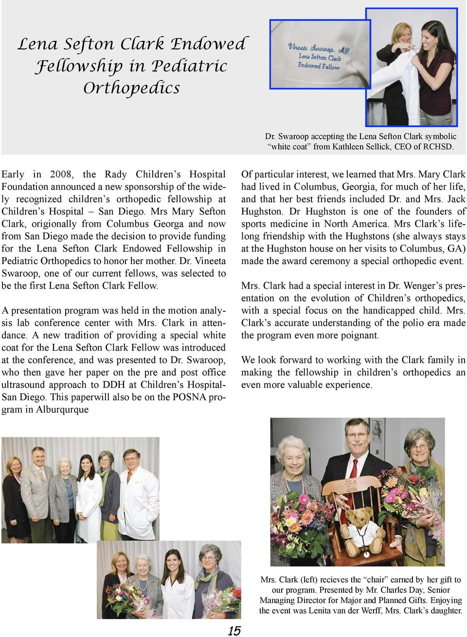 Connections A Newsletter from the Pediatric Orthopedic Training