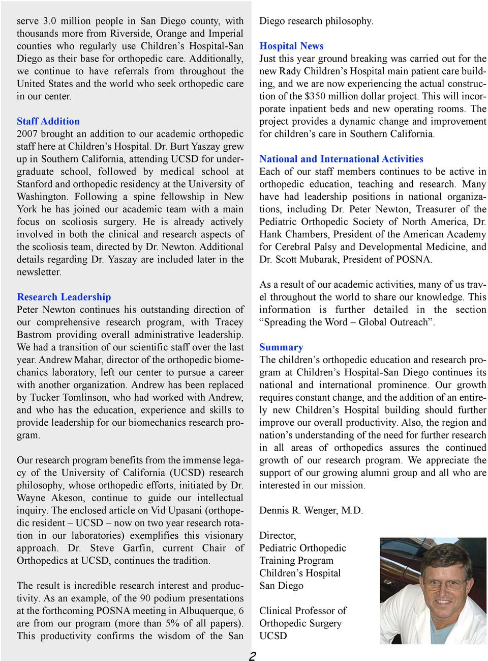 Connections A Newsletter from the Pediatric Orthopedic