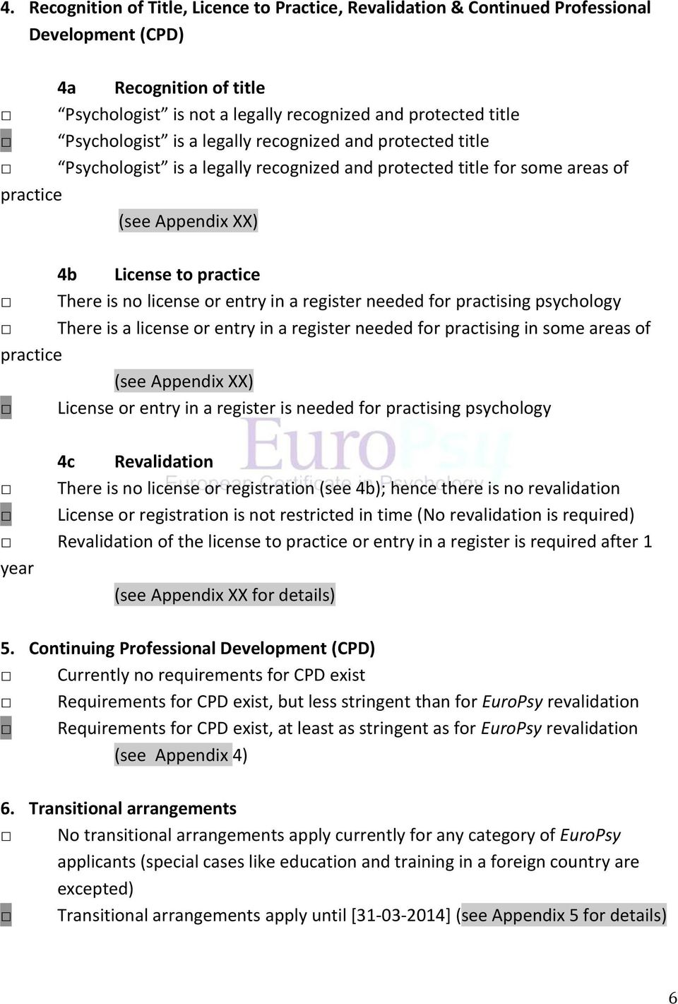 in a register needed for practising psychology There is a license or entry in a register needed for practising in some areas of practice (see Appendix XX) License or entry in a register is needed for