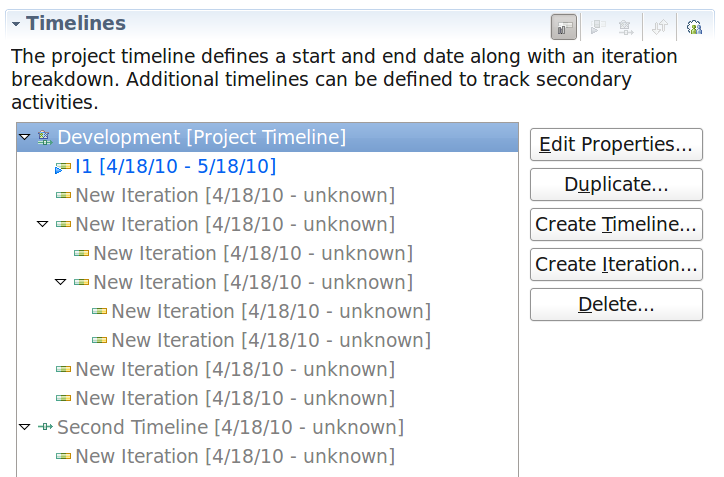 Tutorial 1 Project Area Tab In the Overview tab you can edit timelines and iterations.