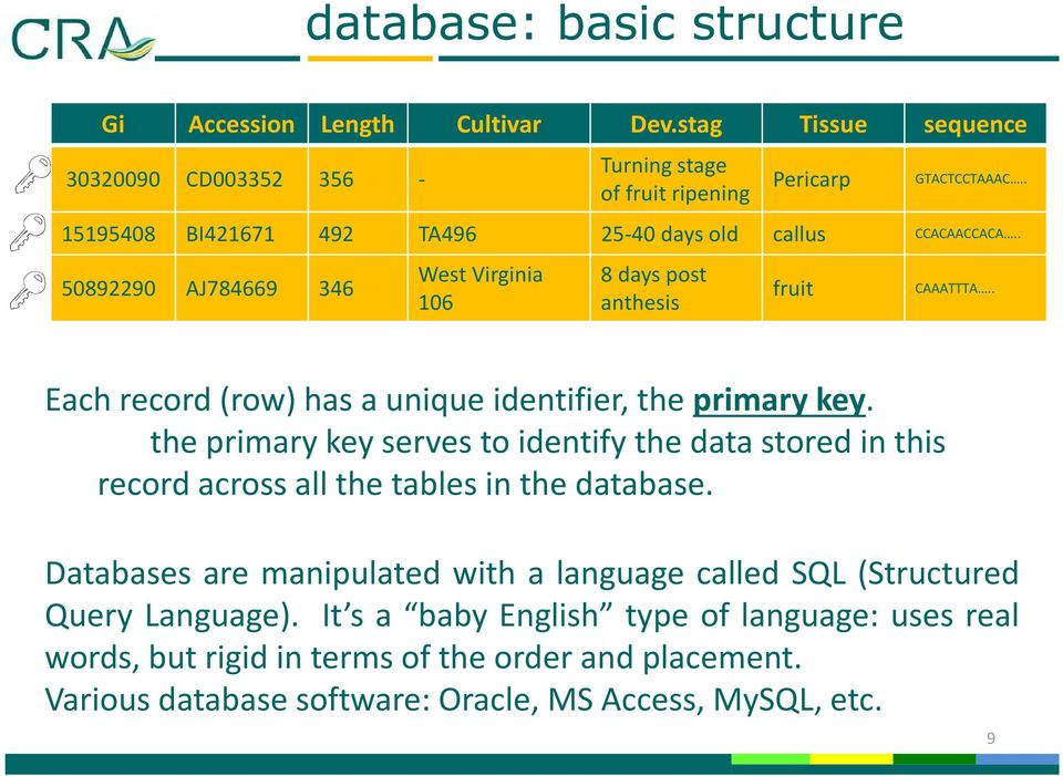 . Each record (row) has a unique identifier, the primary key. the primary key serves to identify the data stored in this record across all the tables in the database.