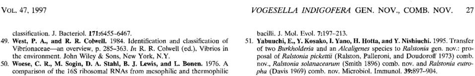 Stahl, B. J. Lewis, and L. Bonen. 1976. A comparison of the 16s ribosomal RNAs from mesophilic and thermophilic bacilli. J. Mol. Evol. 7:197213. 51. Yabuuchi, E., Y. Kosako, I. Yano, H. Hotta, and Y.