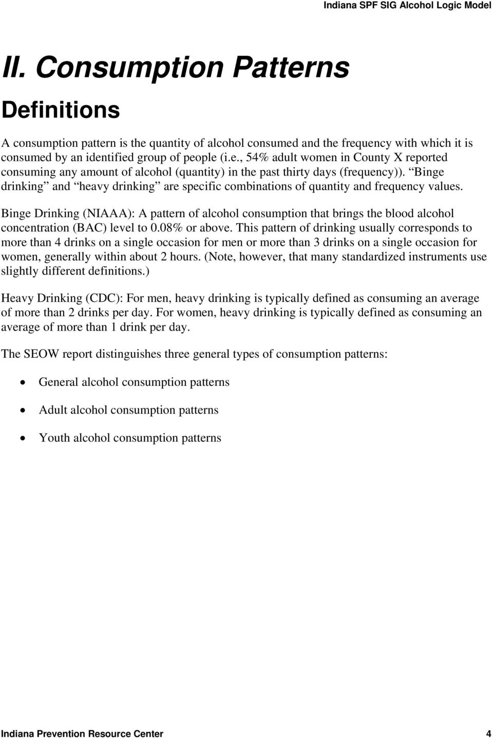 alcohol logic model. definitions and data sources - pdf