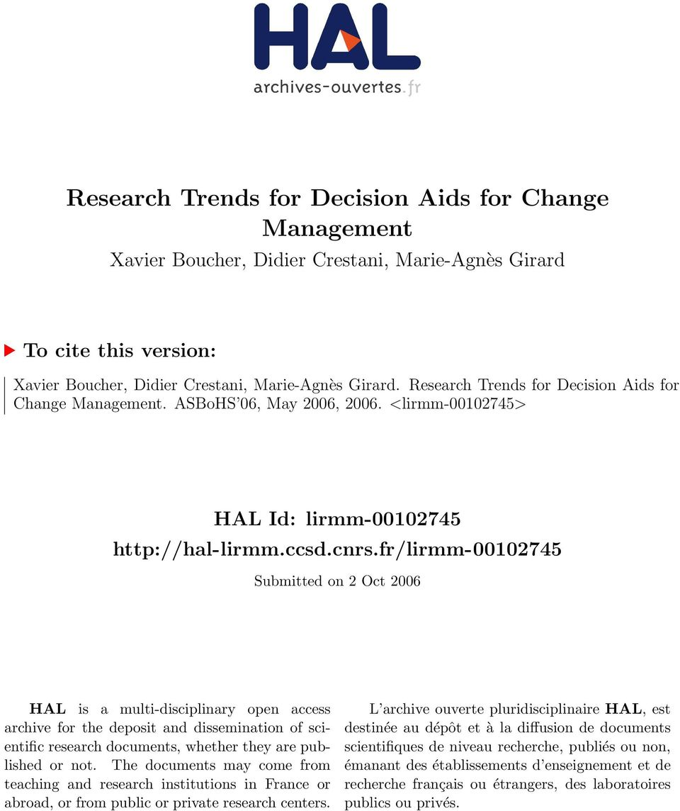 fr/lirmm-00102745 Submitted on 2 Oct 2006 HAL is a multi-disciplinary open access archive for the deposit and dissemination of scientific research documents, whether they are published or not.