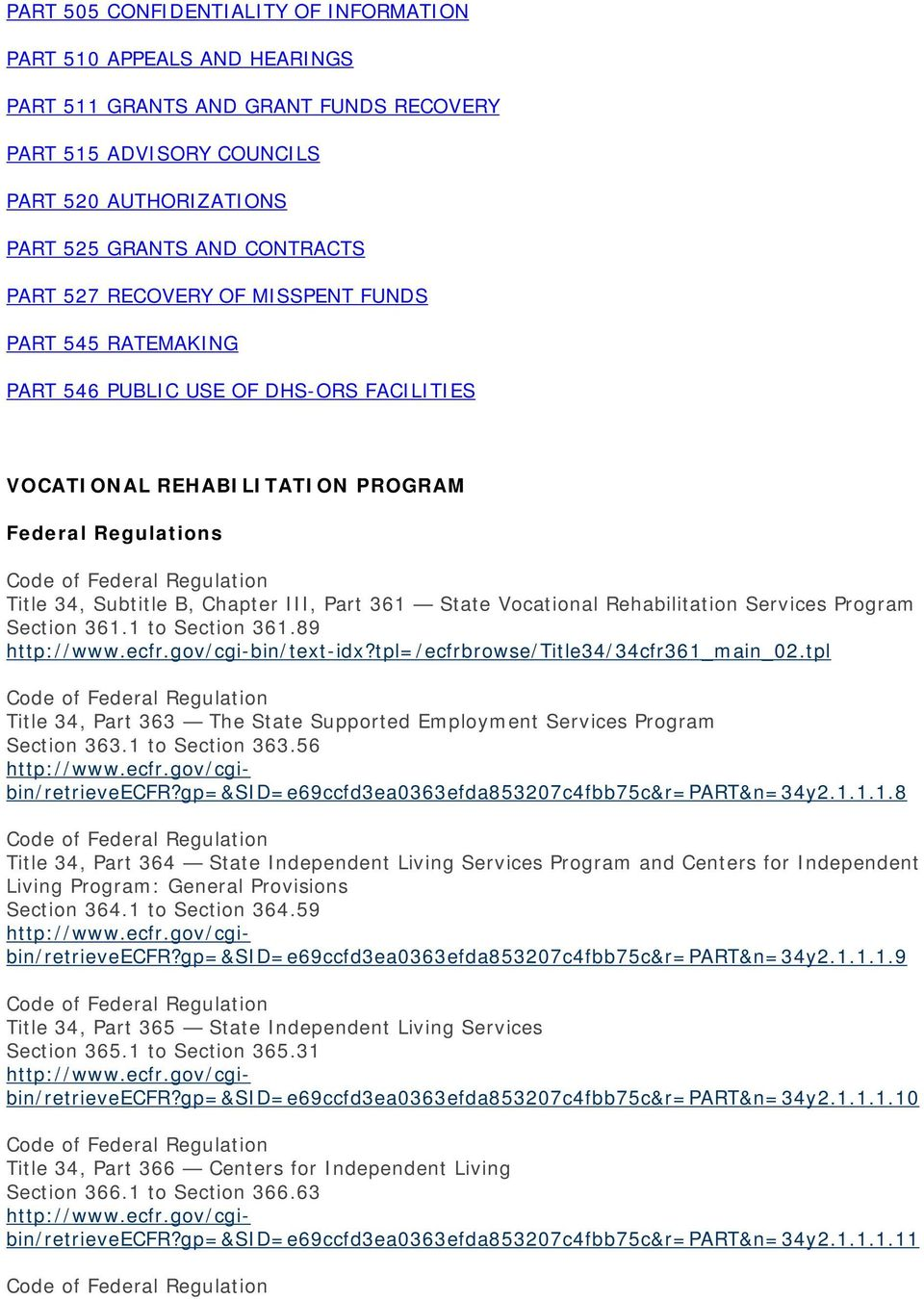 Vocational Rehabilitation Services Program Section 361.1 to Section 361.89 http://www.ecfr.gov/cgi-bin/text-idx?tpl=/ecfrbrowse/title34/34cfr361_main_02.