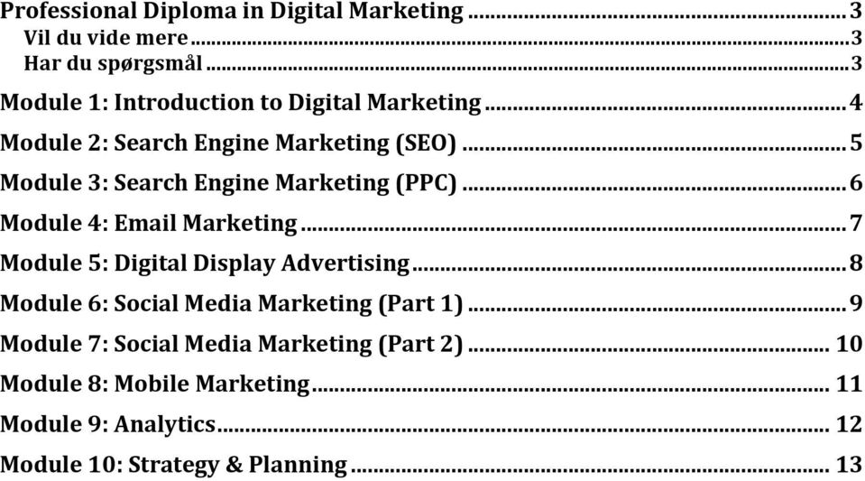 .. 5 Module 3: Search Engine Marketing (PPC)... 6 Module 4: Email Marketing... 7 Module 5: Digital Display Advertising.