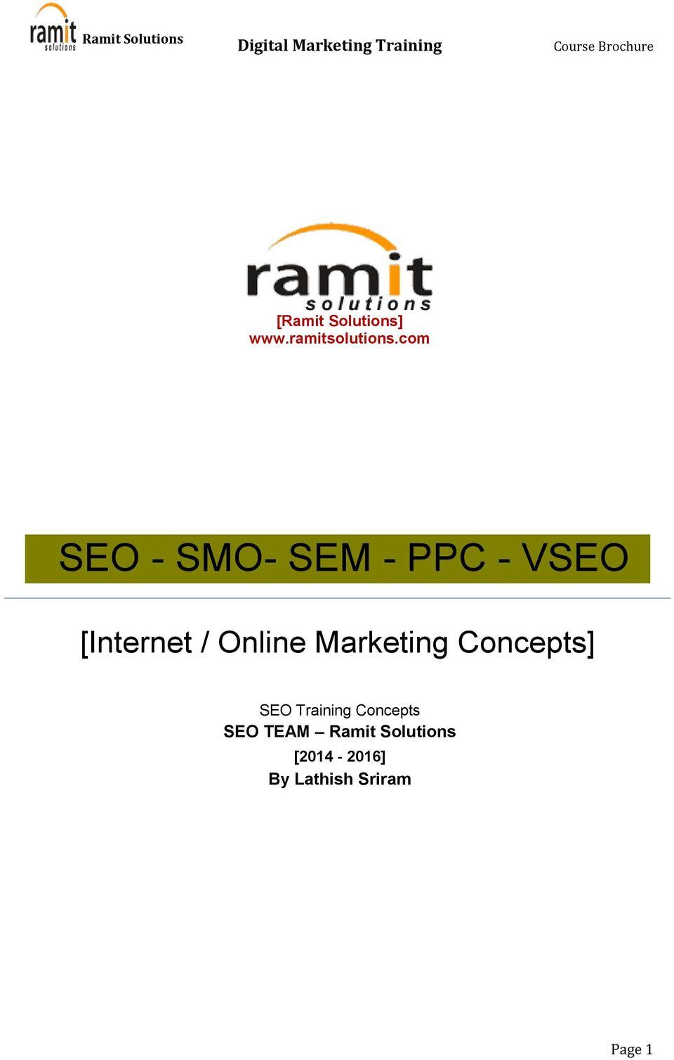 Online Marketing Concepts] SEO Training