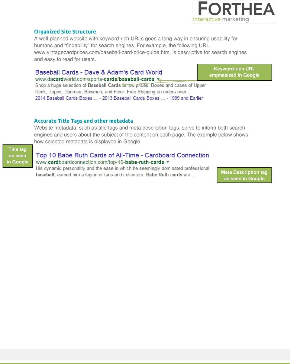 Keyword-rich URL emphasized in Google Title tag as seen in Google Accurate Title Tags and other metadata Website metadata, such as title tags and meta description tags,