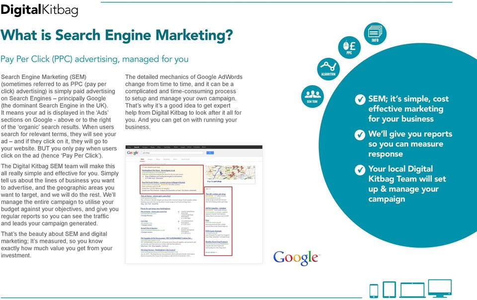 Google (the dominant Search Engine in the UK). It means your ad is displayed in the Ads sections on Google - above or to the right of the organic search results.