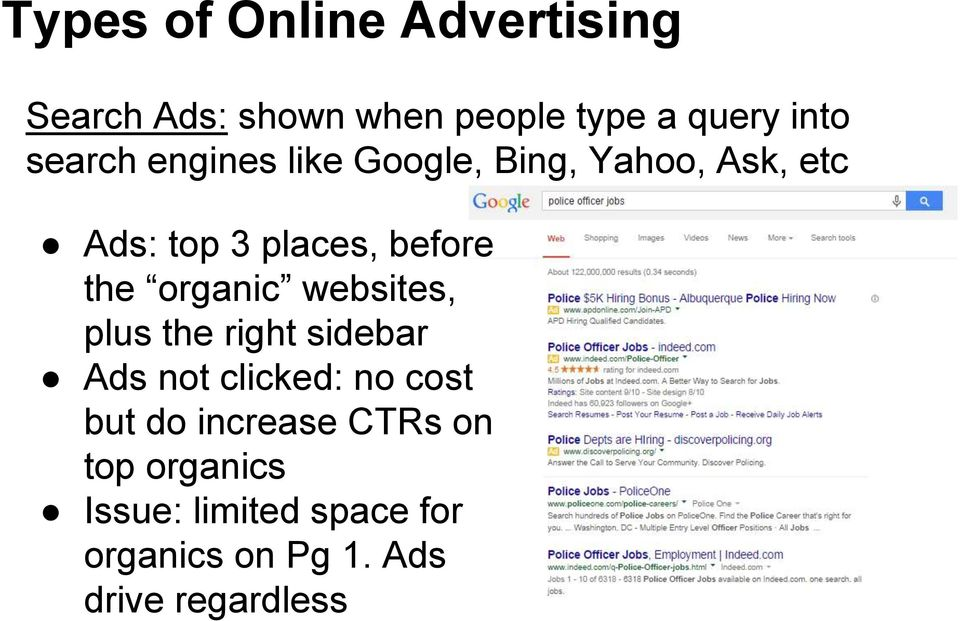 organic websites, plus the right sidebar Ads not clicked: no cost but do