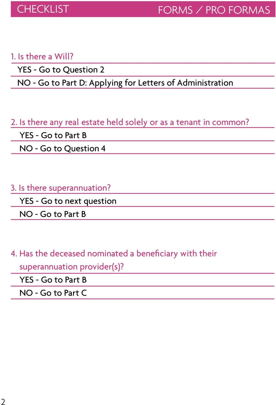 Is there any real estate held solely or as a tenant in common? YES - Go to Part B NO - Go to Question 4 3.