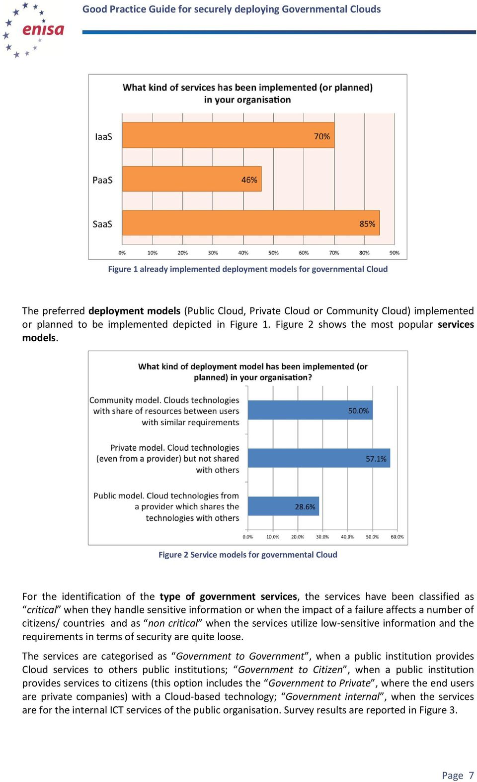 Figure 2 Service models for governmental Cloud For the identification of the type of government services, the services have been classified as critical when they handle sensitive information or when