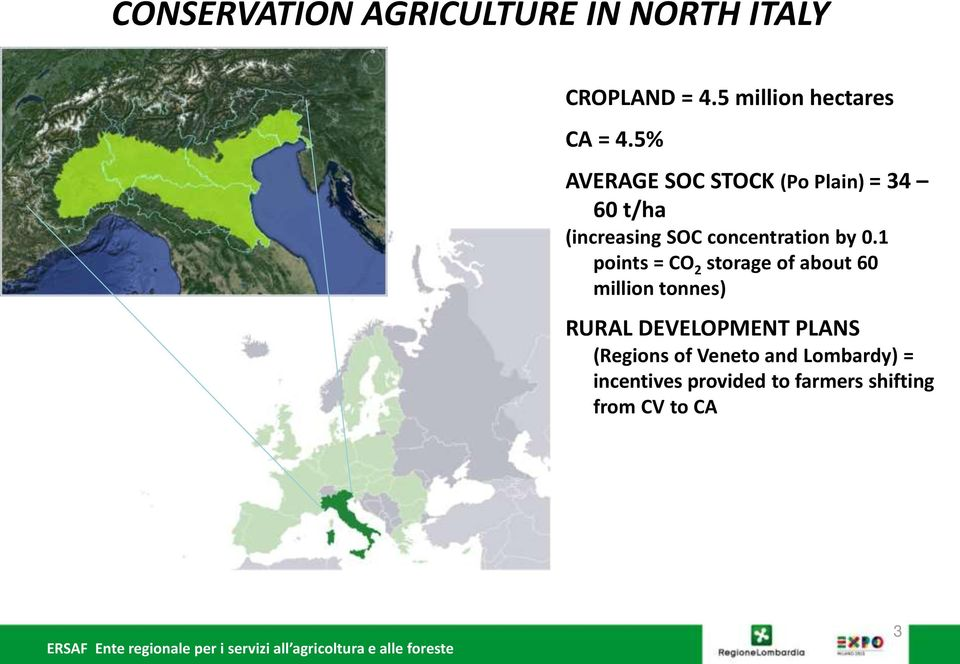 5% AVERAGE SOC STOCK (Po Plain) = 34 60 t/ha (increasing SOC concentration by 0.