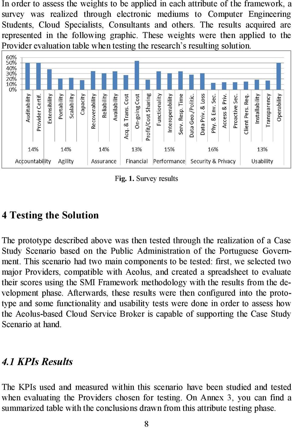 Survey results 4 Testing the Solution The prototype described above was then tested through the realization of a Case Study Scenario based on the Public Administration of the Portuguese Government.
