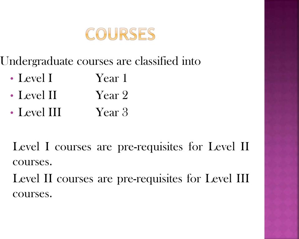 courses are pre-requisites for Level II courses.