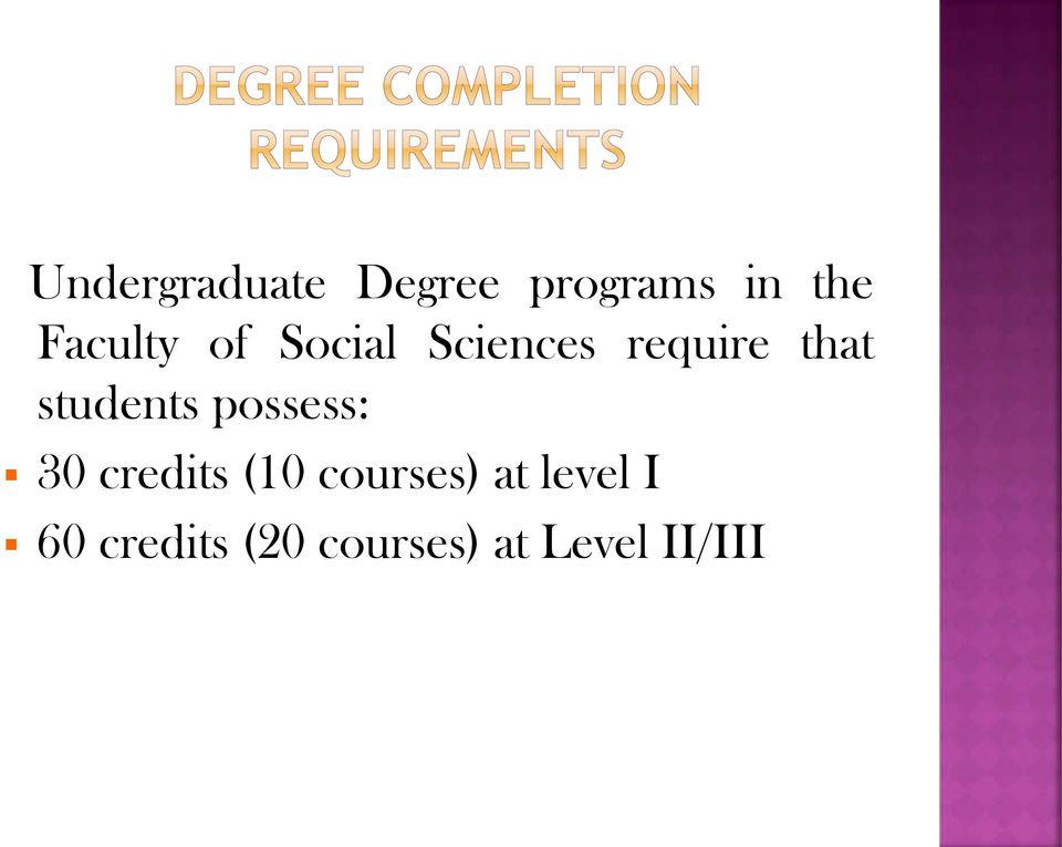 students possess: 30 credits (10 courses)